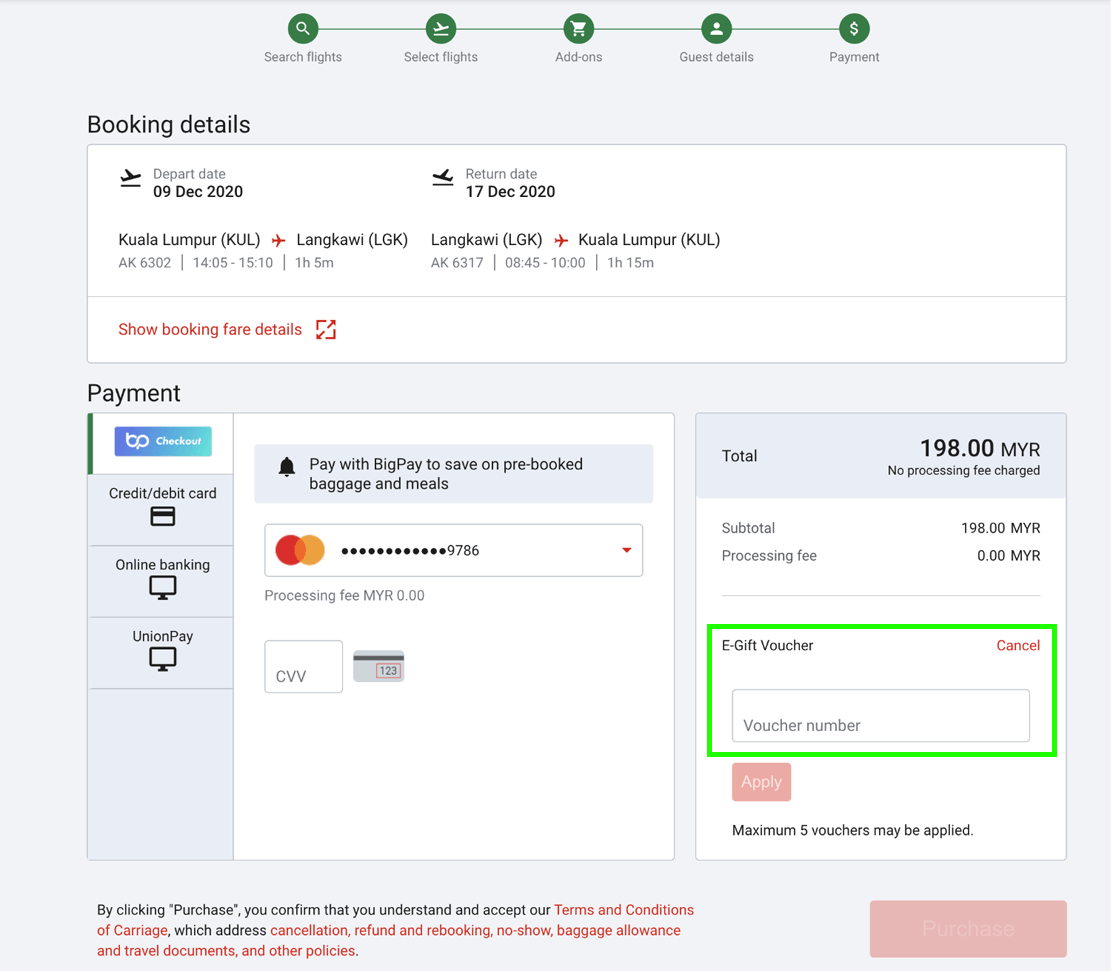 Upon payment page, insert your voucher number before you make the payment