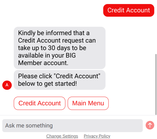 Select Credit Account.