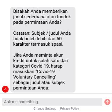 Masukan subjek Covid-19 Voluntary Cancellation