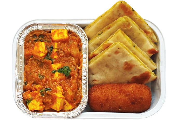 Jeera Aloo Kulcha with Chole Paneer & Vegetable Croquette (V)