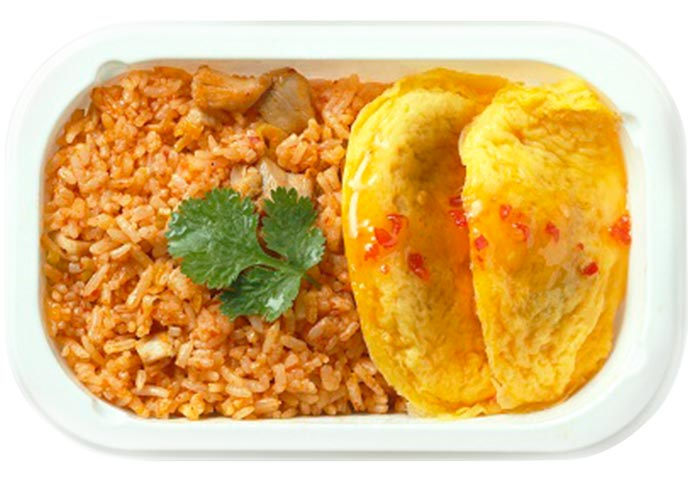 Spicy Chicken Fried Rice with Thai Omelette