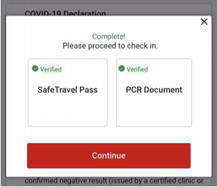 """Once the document/certificate has been successfully approved, a green-coloured checkmark with the word """"Verified"""" will appear. Click """"Continue"""" to proceed with the check-in process."""