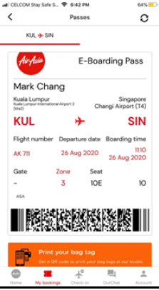 An E-Boarding Pass will be issued. Guest can either proceed straight to the gate, or to the self check-in kiosk to print a bag tag and do a self baggage drop (if the airport provides these facilities).