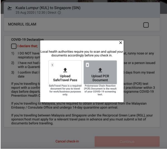Upload the required document/certificate for your arrival destination.