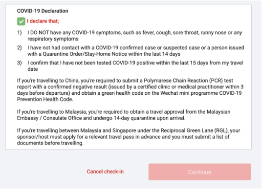 Guest will now need to tick the COVID-19 Declaration box at this stage to proceed with the web check-in process.