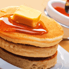 Pancakes + Maple Syrup + Butter