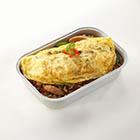 辣炒雞肉配米飯及泰式奄列