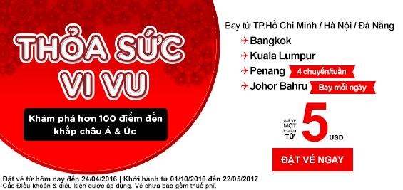 Vé siêu rẻ AirAsia bay từ tháng 10 đến tháng 5-2017