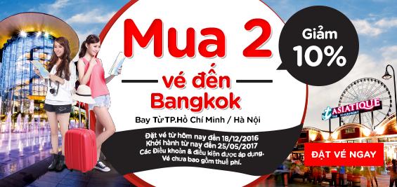AirAsia khuyến mãi mua 2 vé đi Bangkok được giảm 10% (update: đặt 2 khách sẽ rất rẻ)