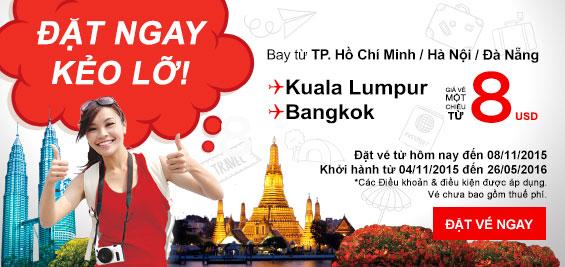Bay ngay Bangkok, Kuala Lumpur với giá siêu rẻ AirAsia