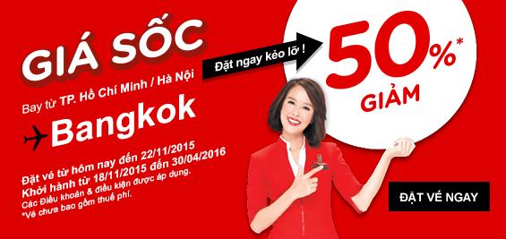Giảm 50% chặng bay Bangkok của AirAsia