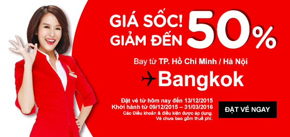 Vé siêu rẻ bay Malaysia (20 USD một chiều), bay Bangkok giảm 50%