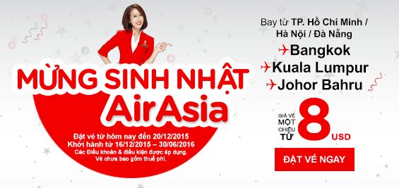 Bay Johor, Penang, Kuala chỉ với 8 USD của AirAsia