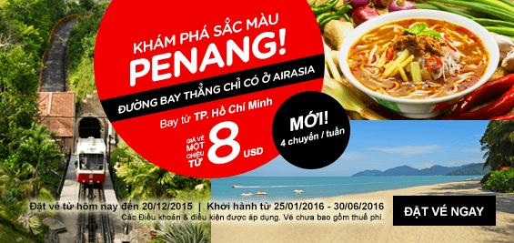 Vé rẻ bay Johor, Penang, Kuala chỉ với 8 USD của AirAsia