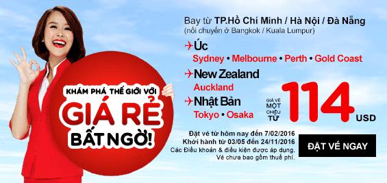 Bay Ấn Độ, Úc, Nhật, Hàn với giá vé siêu rẻ của AirAsia