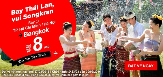 Vé siêu rẻ bay tết té nước Songkran (có vé 0 đồng Malay)