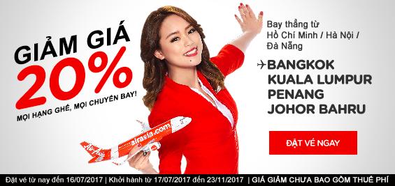 AirAsia giảm 20% giá vé toàn mạng bay (phù hợp cho ai bay tháng 7 đến 11-2017)