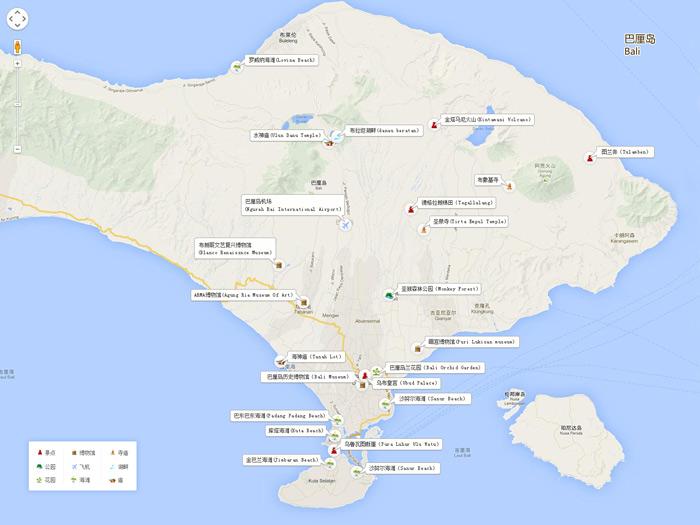 巴厘岛旅游景点地图