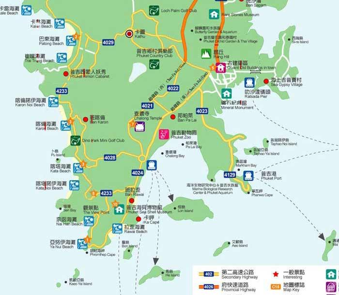 普吉岛旅游景点地图