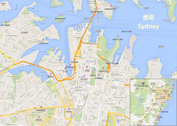 悉尼旅游景点地图