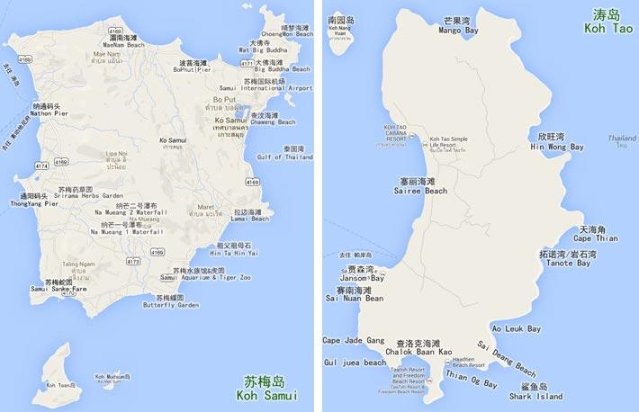 苏梅岛和涛岛景点地图