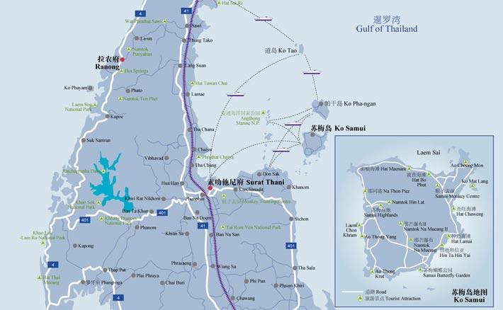 素叻他尼景点地图