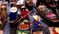 Book cheapest flights to Bangkok and visit the Taling Chan floating market